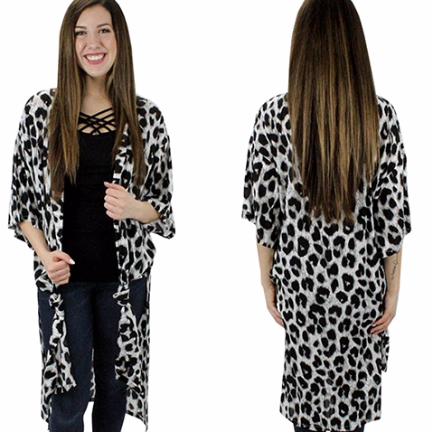 BLACK AND GREY LEOPARD KIMONO DUSTER