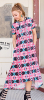 MAGNOLIA MAXI PINK AZTEC DRESS