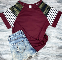 MAROON STRIPES AND CAMO TOP