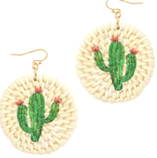 WICKER CIRCLE CACTUS EARRINGS