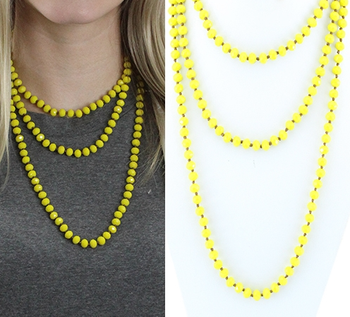 YELLOW 60 INCH BEAD NECKLACE