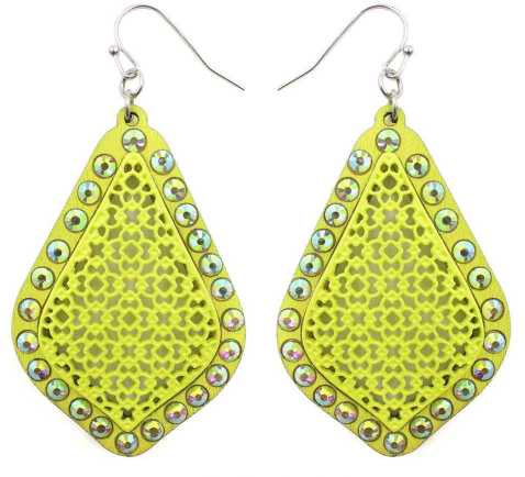NEON YELLOW WOOD FILIGREE EARRINGS