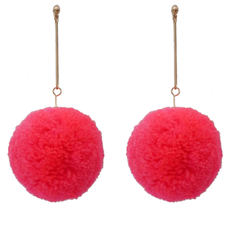 HOT PINK POM POM STUD EARRINGS