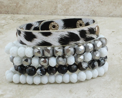 WHITE SILVER AND LEOPARD STACKABLE BRACELET