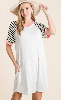 HEATHER GREY WITH NEON STRIPE AND LEOPARD SLEEVE DRESS