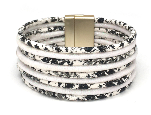 SNAKESKIN AND WHITE GLITTER WRAP BRACELET