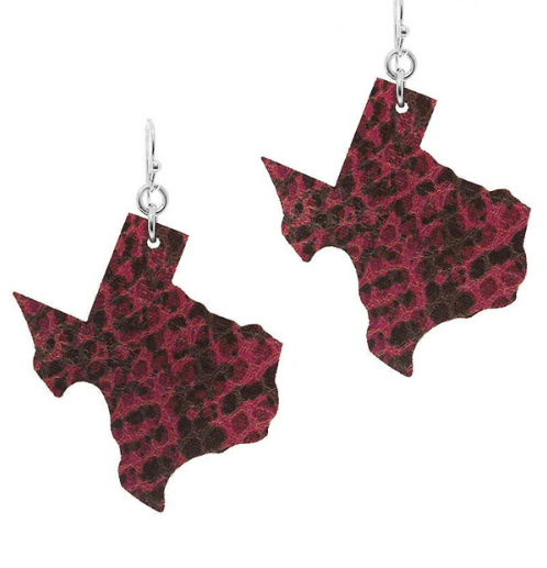 FUSCHIA SNAKESKIN TX EARRINGS