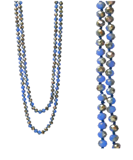 AB BLUE CRYSTAL BEAD 60 INCH NECKLACE
