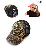 DISTRESSED BLACK AND LEOPARD CRISS CROSS PONY HAT