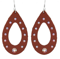 BROWN LEATHER WITH RHINESTONE EARRINGS