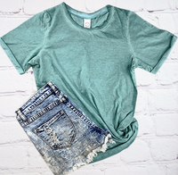 TURQUOISE ACID WASH T SHIRT