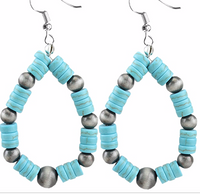 TURQUOISE AND SILVER BEAD HOOP EARRINGS