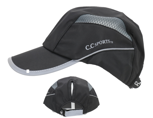 BLACK AND GREY CC ATHLEISURE PONY TAIL HAT