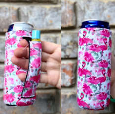 FLAMINGO & FLOWERS SLIM CAN LIT HANDLER KOOZIE
