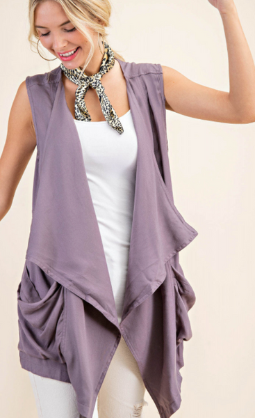 RAYON VEST WITH POCKETS
