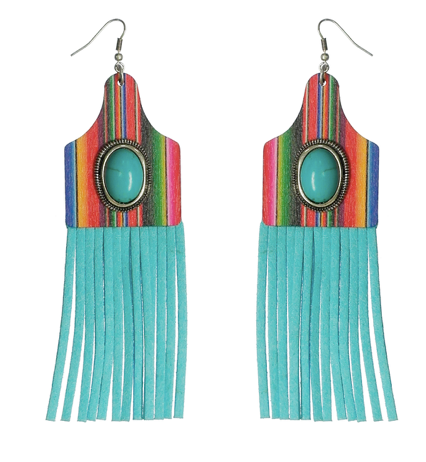 SERAPE COW TAG WITH SUEDE TASSEL EARRINGS