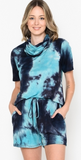 NAVY TIE DYE TOP AND SHORTS SET WITH ATTACHED MASK