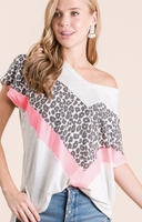 LEOPARD AND NEON COLORBLOCK V NECK TOP
