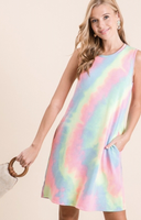 SLEEVELESS TIE DYE DRESS WITH POCKETS