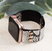 SNAKE, RATTLE AND ROLL SILVER BLACK LEATHER IWATCH BAND WITH SNAPS