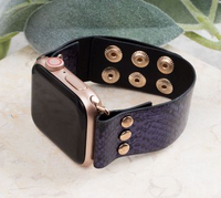 SNAKE, RATTLE AND ROLL NAVY LEATHER IWATCH BAND WITH SNAPS