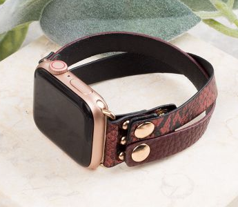 DON'T CROSS ME DARK RED LEATHER IWATCH BAND WITH SNAPS