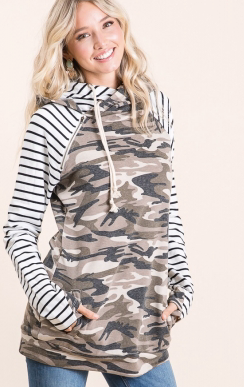 CAMO AND STRIPE DOUBLE ZIP HOODIE