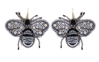 SILVER SEED BEAD BEE EARRINGS