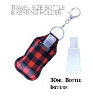 RED BUFFALO PLAID TRAVEL SANITIZER HOLDER