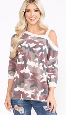 BURGUNDY CAMO COLD SHOULDER TOP
