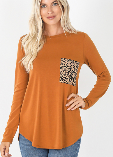 ALMOND LONG SLEEVE TOP WITH LEOPARD POCKET