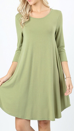 SAGE 3/4 SLEEVE ROUND HEM DRESS WITH POCKETS X