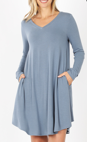 CEMENT LONG SLEEVE V NECK DRESS WITH POCKETS