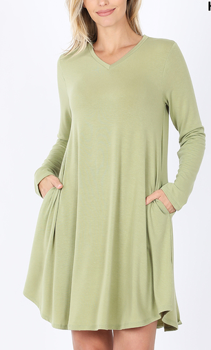 SAGE LONG SLEEVE V NECK DRESS WITH POCKETS