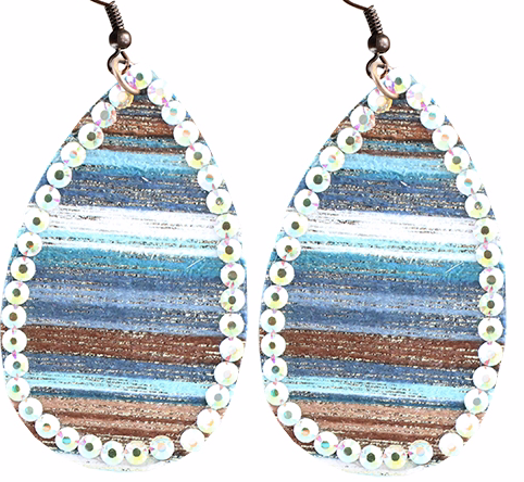 MULTI NAVY SERAPE WITH AB STONE EARRINGS