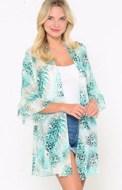 MINT MIXED ANIMAL PRINT SHEER KIMONO X