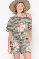 CAMO AND FLORAL COLD SHOULD SHORT SET