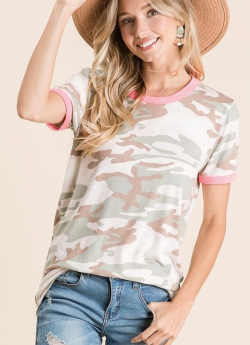 MUTED CAMO WITH PINK TRIM TOP