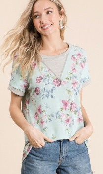 MINT FLORAL WITH GREY TRIM TOP