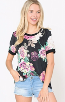 BLACK FLORAL TOP WITH SOLID BAND SLEEVES