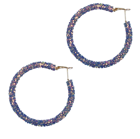 BLUE GLITTER HOOP EARRINGS
