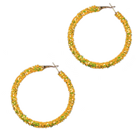 YELLOW GLITTER HOOP EARRINGS