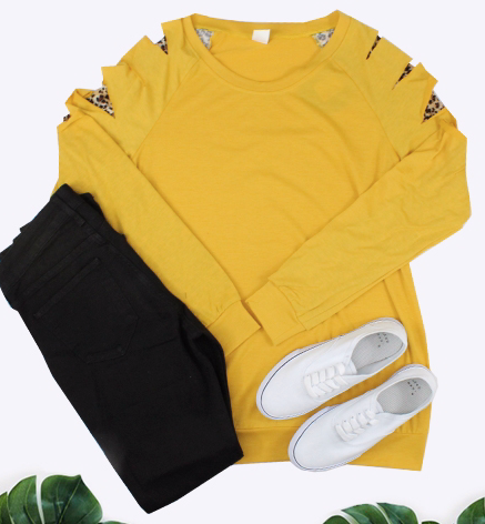 MUSTARD WITH LEOPARD CUT OUT SLEEVE TOP