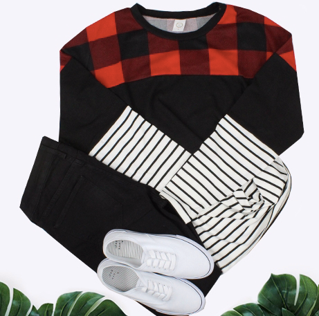 RED BUFFALO PLAID AND STRIPE COLOR BLOCK TOP