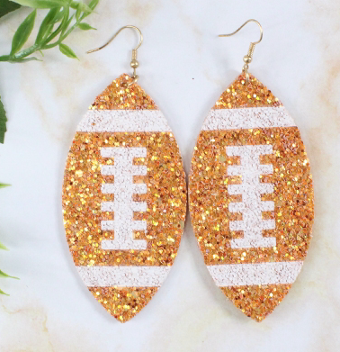 ORANGE BIG GLITTER FOOTBALL EARRINGS