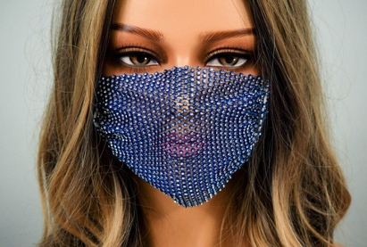 ROYAL BLUE RHINESTONE WITH ADJUSTABLE STRAPS ADULT MASK COVER