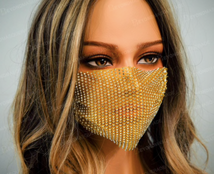 GOLD RHINESTONE WITH ADJUSTABLE STRAPS ADULT MASK COVER
