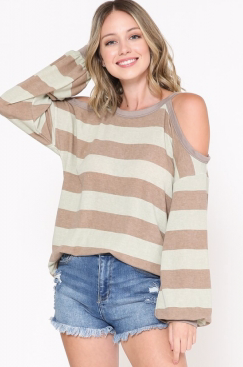 MINT AND TAUPE BUBBLE SLEEVE COLD SHOULDER TOP