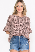 DUSTY PINK CHEETAH RUFFLE SLEEVE TOP