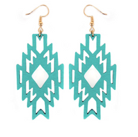 TURQUOISE WOOD AZTEC EARRINGS